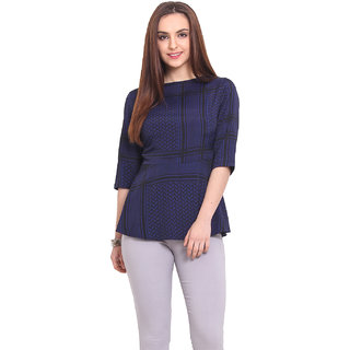 Blink Women Blue Satin Casual Top (BLK00031)