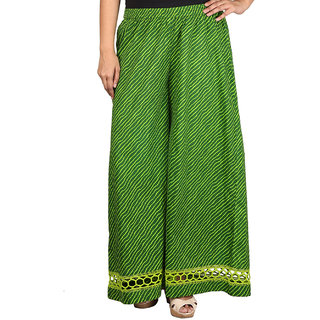 Talinum Women Green Cotton Printed Palazzo (SOPL-C-01)