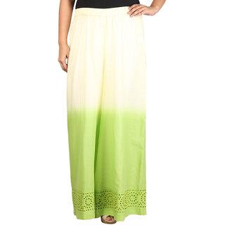 Talinum Women Green Cotton Solid/Plain Palazzo (SOPL-A-02)