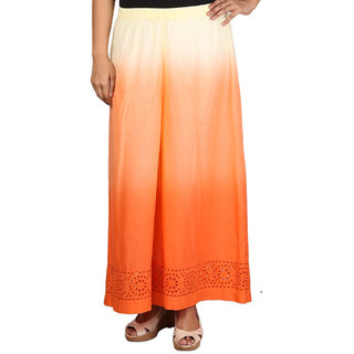Talinum Women Orange Cotton Solid/Plain Palazzo (SOPL-D-02)