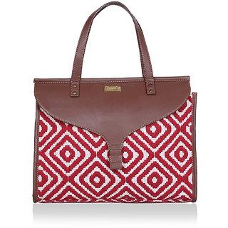 Paprika Red  White Colour Handbag
