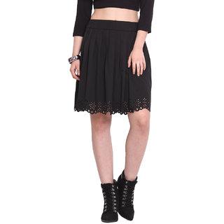 H.O.G. Women Black Polyester Casual Skirt (UCI057-B)
