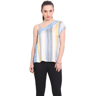 La Stella Women Blue Viscose Casual Top (L16120-LBLUE)