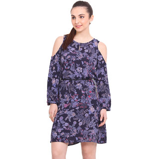 La Stella Black Printed A Line Dress For Women