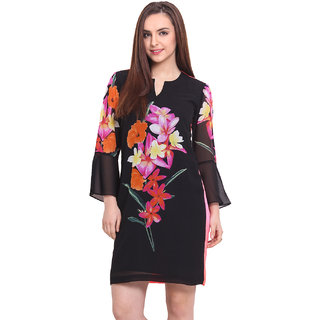 Blink Black Printed A Line Dress For Women