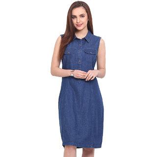 Blink Blue Plain A Line Dress For Women