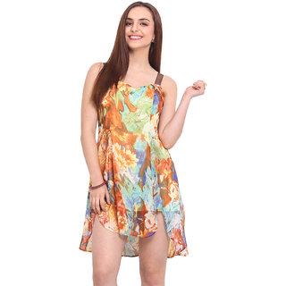 H.O.G. Multicolor Printed Skater Dress For Women
