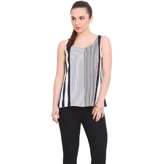 La Stella Women Black Polyester Casual Top (L16141-WHITE)