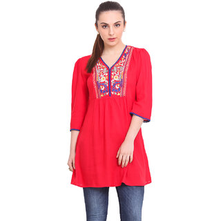 La Stella Women Red Rayon Casual Tunic (L16139-RED)