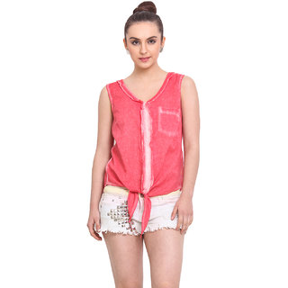 H.O.G. Women Pink Cotton Casual Top (UCI001-A)