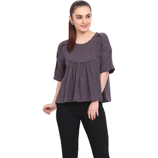 H.O.G. Women Grey Cotton Casual Top (UCI021-B)