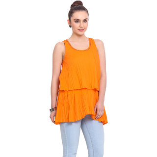 H.O.G. Women Orange Cotton Casual Top (UCI014-B)
