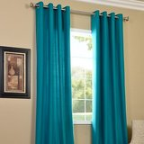 Shop 24x7-Beautiful Solid Crush Curtain -Dark Sky (set Of 2) (4x7ft)
