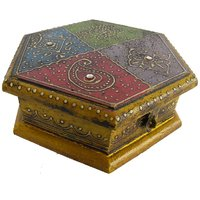 Indian Hand Made Hand Painted Wooden Box  - Option 1