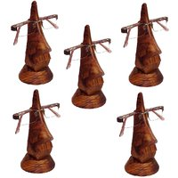 Desi Karigar Beautiful Unique Hand Carved Rosewood Nose-Shaped Eyeglass Spectacle Holder Family Pack (Set Of 5)