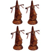 Desi Karigar Beautiful Unique Hand Carved Rosewood Nose-Shaped Eyeglass Spectacle Holder Family Pack (Set Of 4)