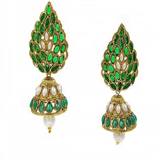 SK Green Colour Fashion Earrings- DSCN0270G