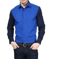 Dazzio Club Wear Blue Full Sleeves Casual Shirts For MenS DZSH0073