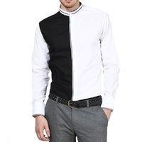 Dazzio Club Wear White Full Sleeves Casual Shirts For MenS DZSH0080