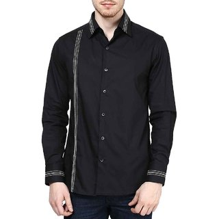 Dazzio Club Wear Black Full Sleeves Casual Shirts For MenS DZSH0103