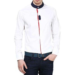 Dazzio Club Wear White Full Sleeves Casual Shirts For MenS DZSH0109