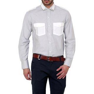 Dazzio Club Wear Grey Full Sleeves Casual Shirts For MenS DZSH0123