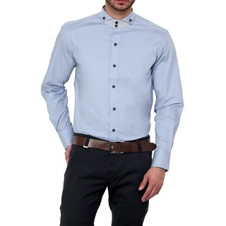 Dazzio Club Wear Blue Full Sleeves Casual Shirts For MenS DZSH0125