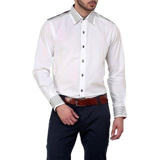 Dazzio Club Wear White Full Sleeves Casual Shirts For MenS DZSH0127