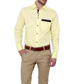 Dazzio Club Wear Yellow Full Sleeves Casual Shirts For MenS DZSH0135