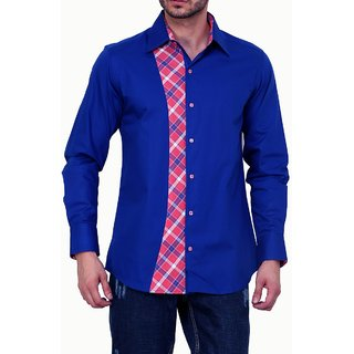 Dazzio Club Wear Blue Full Sleeves Casual Shirts For MenS DZSH0138