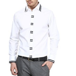 Dazzio Club Wear White Full Sleeves Casual Shirts For MenS DZSH0082