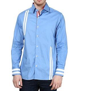 Dazzio Club Wear Blue Full Sleeves Casual Shirts For MenS DZSH0084