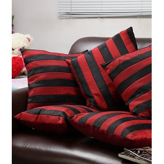 Straight Stripe Cushion Cover Red & Black (5Pcs Set)