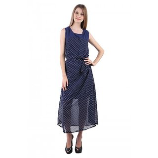 Westchic Womens Navy blue with white dot yog party wear dress