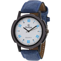 Evelyn Round Dial Blue Leather Strap Mens Quartz Watch