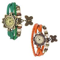 NEW Vintage Designer Leather Women Watches Combo (Pack of 2)