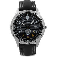 Timex Round Dial Black Leather Strap Mens Quartz Watch - 89008920