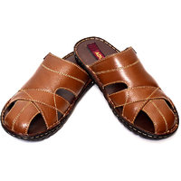 Adler Mens Brown Genuine Leather Sandals