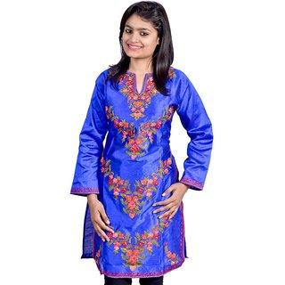 Pixel Kashmiri Silk Kurti blue