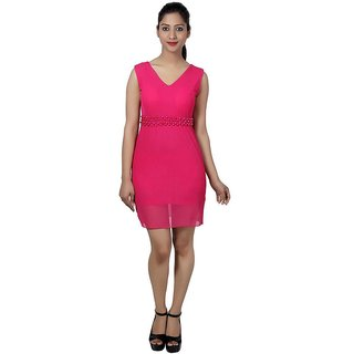 Western World Pink Poly Georgette Dresses