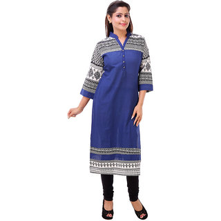 MSONS Womens Dark Blue  Black Printed Yoke Long Cotton Kurti