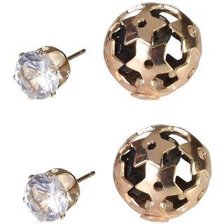 9Blings Black Crystal Gold Stud Earrings