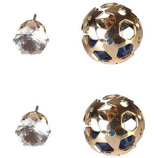 9Blings Blue Crystal Gold Stud Earrings