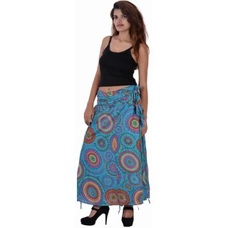 Cotton Printed CGreen Color Long Skirt