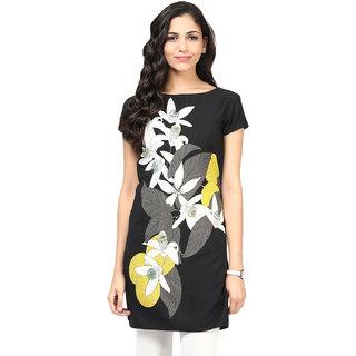 Motif Women Black Polyester,Crepe Kurta