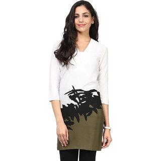 Motif Women White Polyester,Crepe Kurta