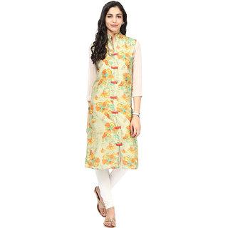 Motif Women Green Polyester,Silk Kurta