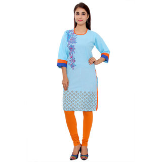 MSONS Womens Light Blue Side Printed  Embroidered Round Neck Long Cotton Kurti