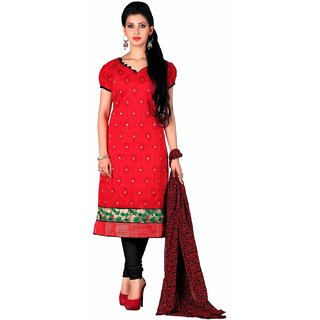 Manvaa Red Embroidered Chanderi Salwar Suit Dress Material