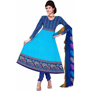 Manvaa Blue Printed Crepe Straight Dress Material